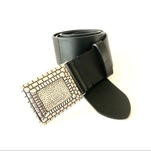 Chico's Black Silver Square  Buckle Leather Belt